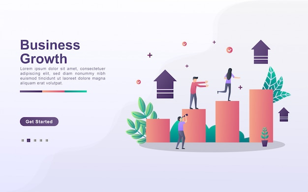 Landing page template of business growth in gradient effect style