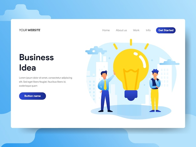 Landing page template of business idea concept