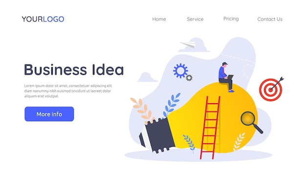 Landing page template of business idea illustration concept.