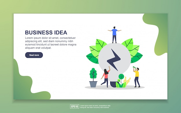 Landing page template of business idea. modern flat design concept of web page design for website and mobile website