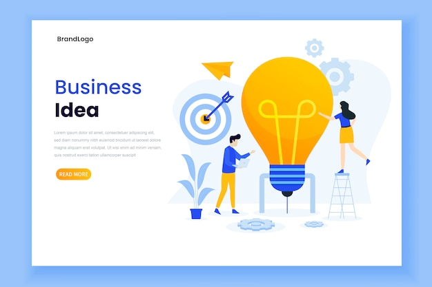 Landing page template of business idea