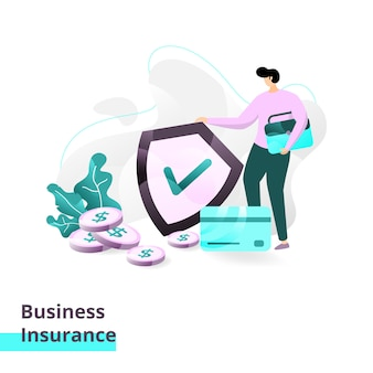 Landing page template of business insurance.illustration