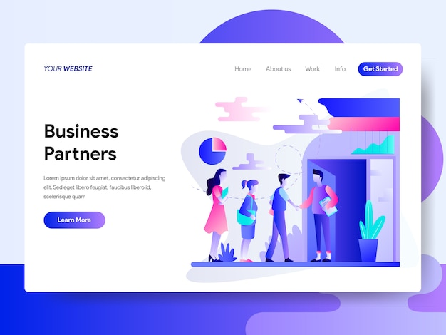 Landing page template of business partners concept