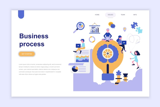 Landing page template of business process