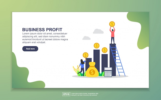 Landing page template of business profit. modern flat design concept of web page design for website and mobile website