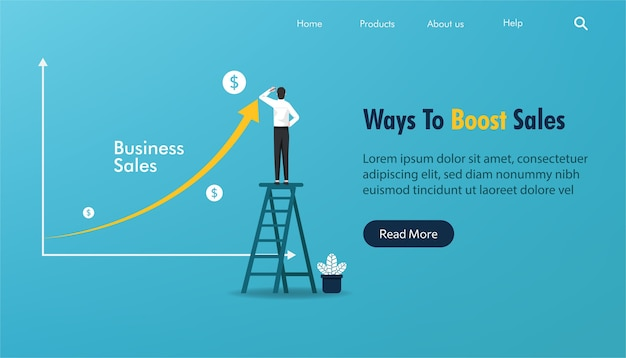 Landing page template of business sales concept. businessman stands to draw on arrow line .
