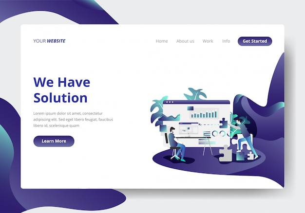 Landing page template of business solution concept