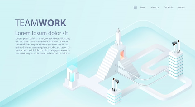 Landing page template of business success boost. teamwork and industry 4.0 concept. 3d realistic vector.