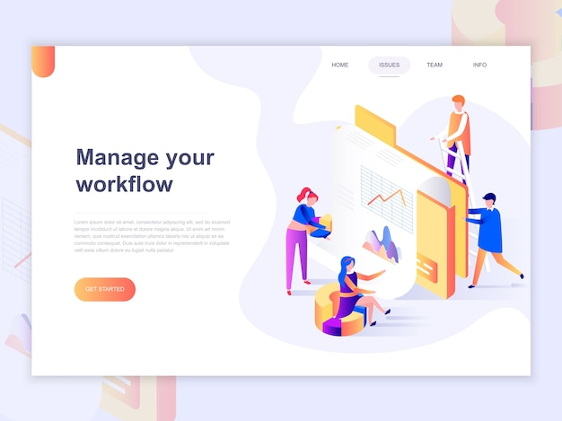 Landing page template of business and workflow management.