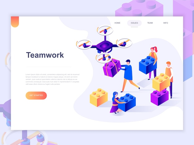 Landing page template of business, workflow management.