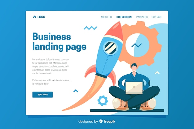 Landing page template of business