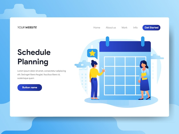Landing page template of businessman doing schedule planning