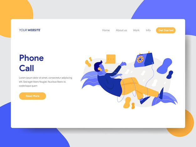 Landing page template of businessman on phone call illustration