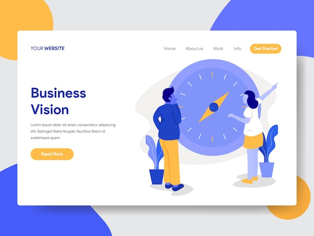Landing page template of businessman with vision and compass illustration