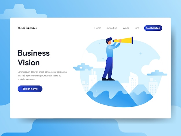 Landing page template of businessman with vision