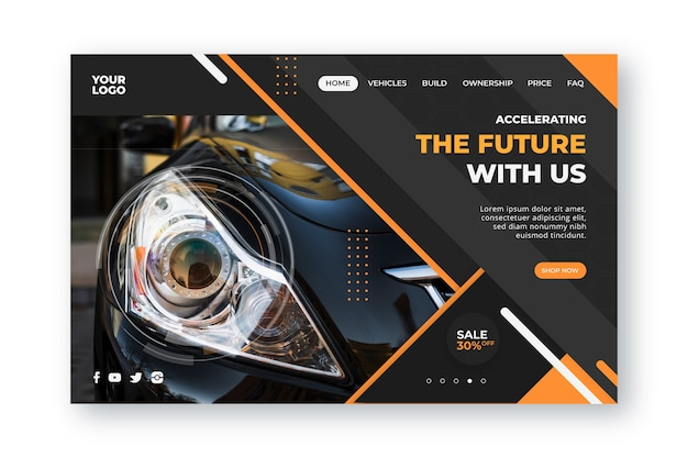 Landing page template car shopping