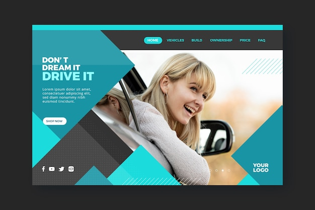 Landing page template for car shopping