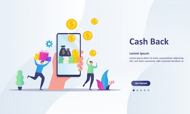 Landing page template of cash back concept