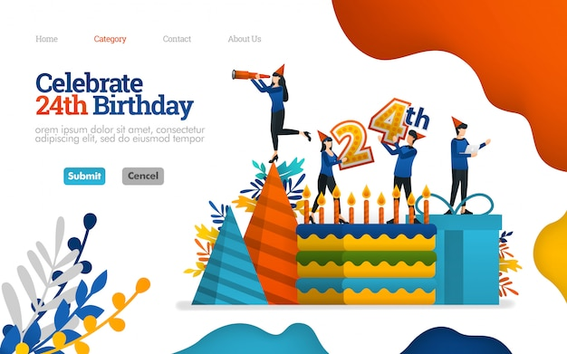 Landing page template. celebrate birthdays, celebration days, 24th anniversary. vector illustration
