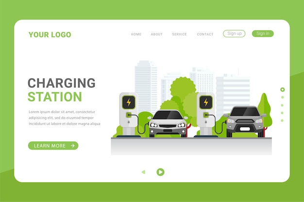 Landing page template for charging station