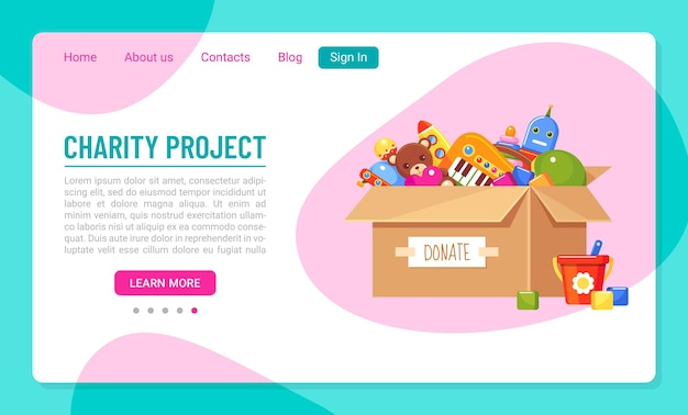 Landing page template for charity project with donation paper box full of kids toys