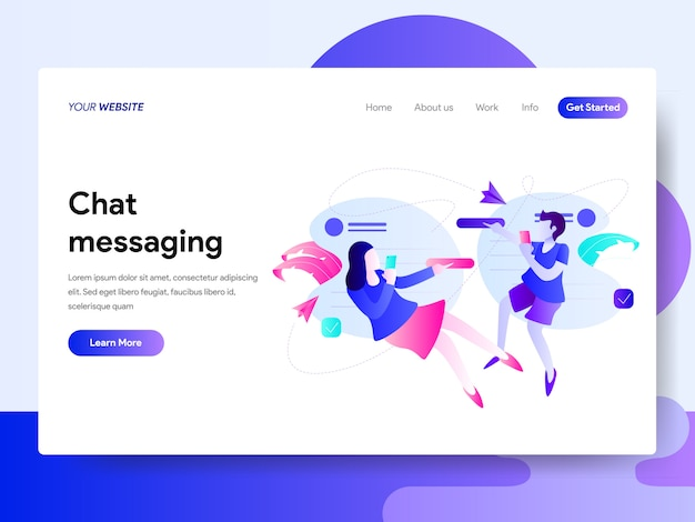 Landing page template of chat messaging concept