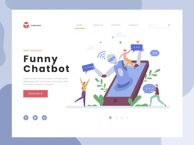 Landing page template, chatbot, flat tiny persons talk with digital robot virtual. ai robot assistant for user conversation. artificial intelligence. flat style.