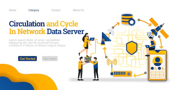Landing page template. circulation and cycle in data server. overview of network communication data from a phone