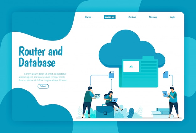 Landing page template of cloud and folder storage service. organize network files and connections in the cloud to work on database. illustration of landing page, website, mobile apps, poster, flyer