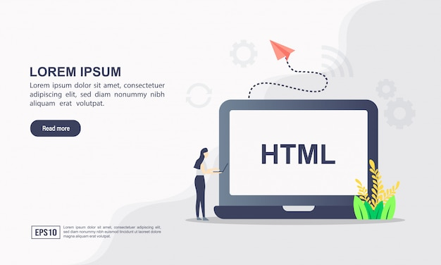 Landing page template. coding illustration concept with character.