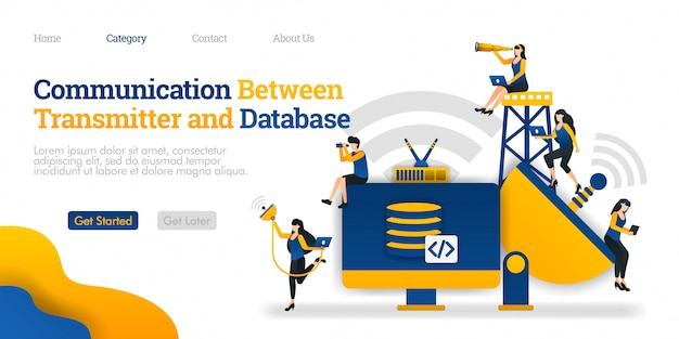 Landing page template. communication between transmitter and storage device. database processes data in device