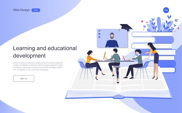 Landing page template. concept of education for online learning, training and courses.