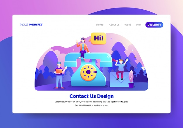 Landing page template of contact us