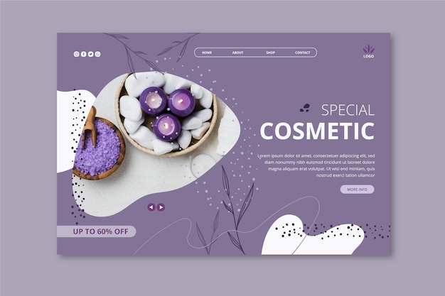 Landing page template for cosmetic products with lavender