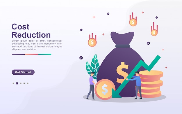 Landing page template of cost reduction in gradient effect style