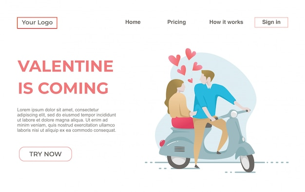 Landing page template of couple in love