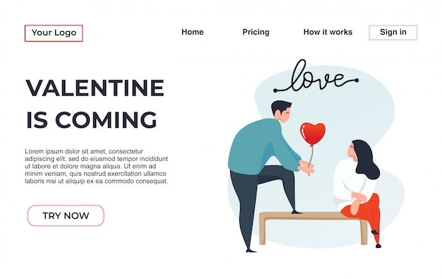 Landing page template of couple modern flat design concept