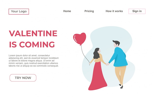 Landing page template of couple for valentine's day
