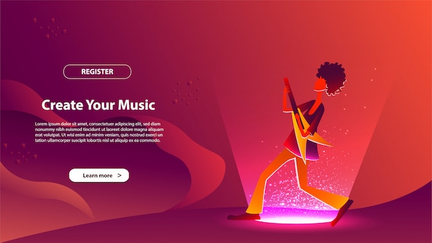 Landing page template of create your music. modern flat design concept of web page design for website and mobile website.
