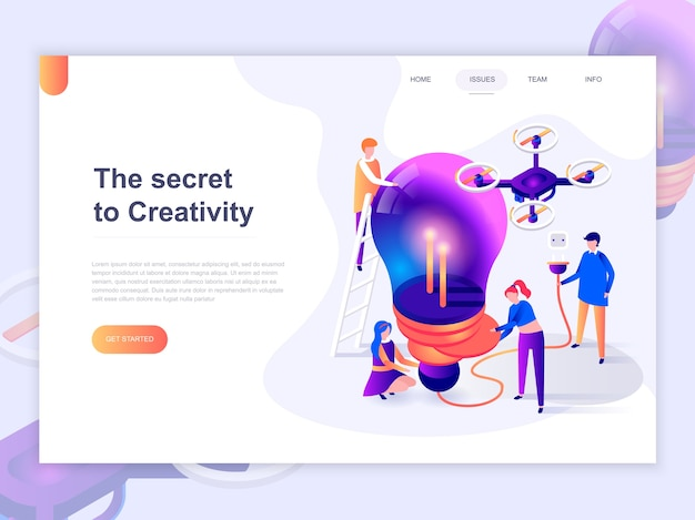 Landing page template of creative process and brainstorming.
