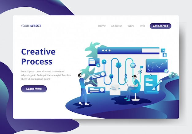 Landing page template of creative process concept