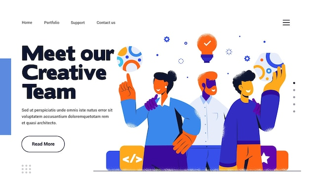Landing page template creative team in flat design style
