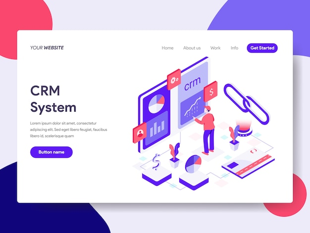 Landing page template of crm system illustration