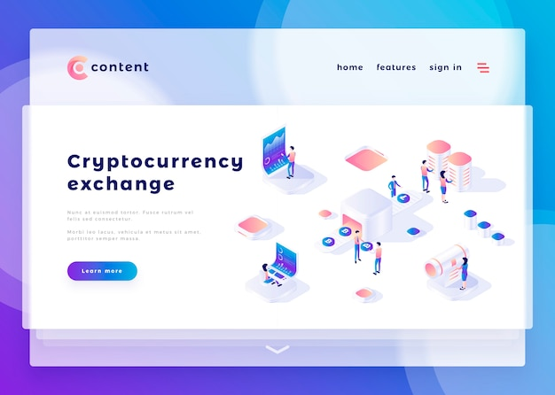 Landing page template for cryptocurrency exchange office people and interact with computers vector illustration