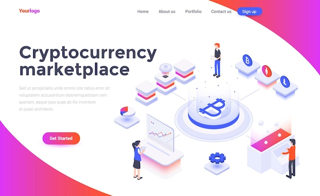 Landing page template of cryptocurrency marketplace in isometry style
