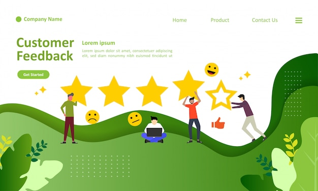 Landing page template of customer feedback vector illustration