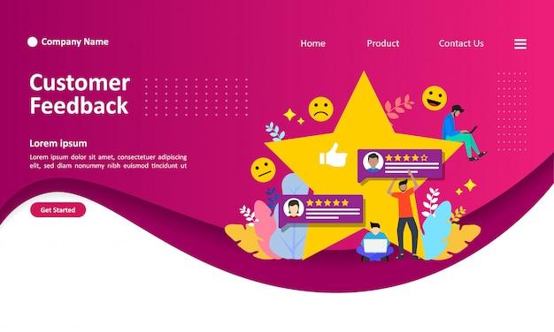 Landing page template of customer feedback vector illustration