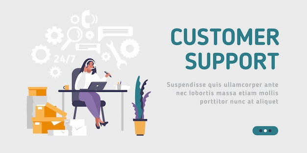 Landing page template customer and operator, online technical support 24-7 for web page.  illustration male hotline operator advises client. online assistant.
