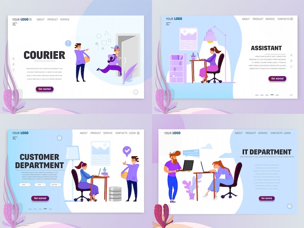 Landing page template customer service assistant courier it department. isolated objects