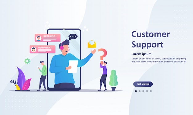 Landing page template of customer support concept
